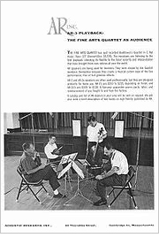 AR advertisement featuring the Fine Arts Quartet listening to their recording played back through AR speakers