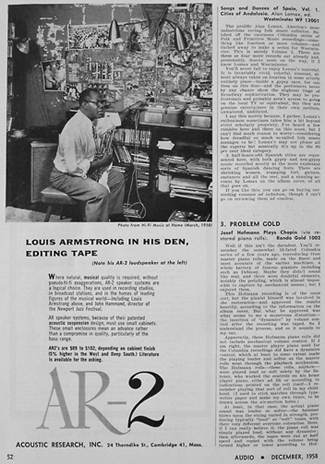 AR advertisement featuring Louis Armstrong listening to his AR-2 speakers