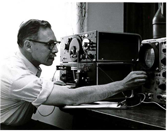 Edgar Villchur in his laboratory in Woodstock, NY testing an AR-3 (1967)